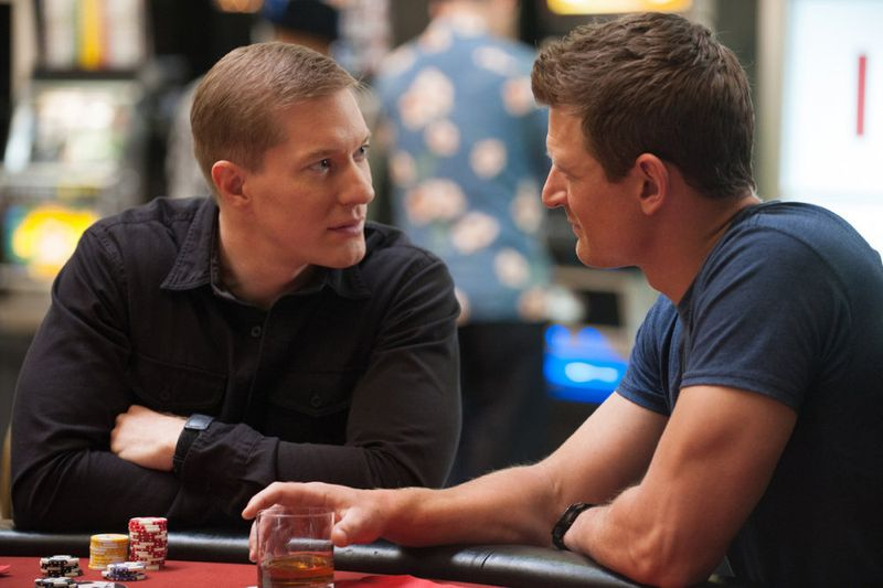 """THE PLAYER -- """"Ante Up"""" Episode 101 -- Pictured: (l-r) Joseph Sikora as McCall, Philip Winchester as Alex -- (Photo by: Colleen Hayes/NBC)"""