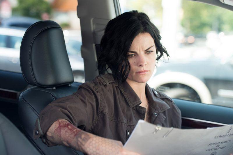 "BLINDSPOT -- ""Eight Slim Grins"" Episode 103 -- Pictured: Jaimie Alexander as Jane Doe -- (Photo by: JoJo Whilden/NBC)"