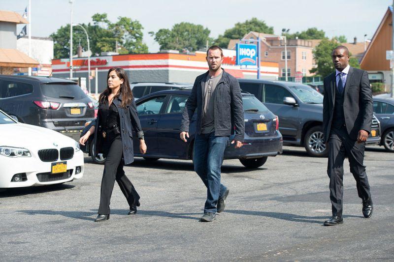 "BLINDSPOT -- ""Eight Slim Grins"" Episode 103 -- Pictured: (l-r) Audrey Esparza as Tasha Zapata, Sullivan Stapleton as Kurt Weller, Rob Brown as Edgar Reed -- (Photo by: JoJo Whilden/NBC)"