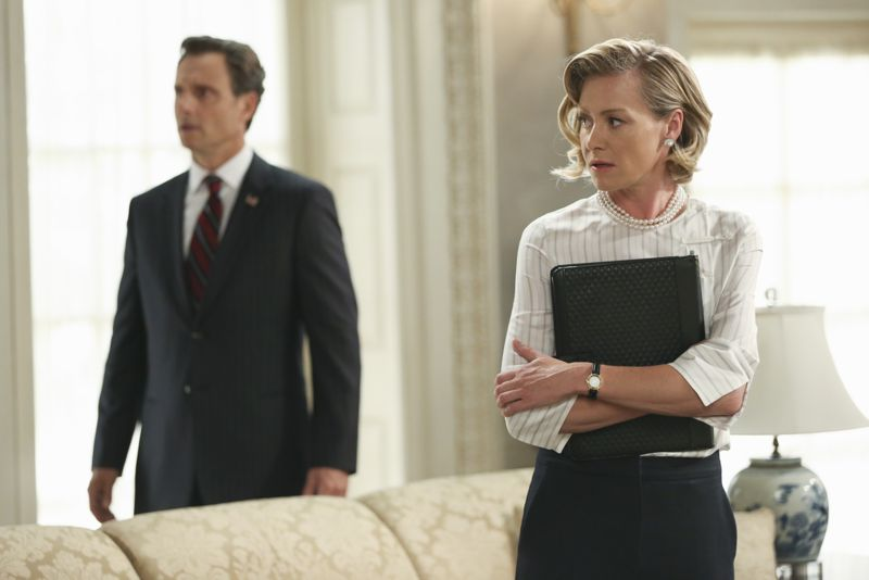"""SCANDAL - """"Paris is Burning"""" - Olivia and Fitz face some very big consequences and Mellie brings in an old friend to make sure she gets her way. Meanwhile, Abby shows Olivia she is fully capable of handling working at the White House, on """"Scandal,"""" THURSDAY OCTOBER 8 (9:00-10:00 p.m., ET) on the ABC Television Network. (ABC/John Fleenor) TONY GOLDWYN, PORTIA DE ROSSI"""