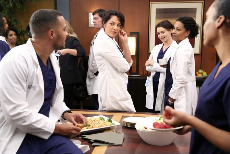 "GREY'S ANATOMY - ""Walking Tall"" -- The pressure is on as a determined Bailey tackles her first day as Chief; meanwhile, April's marriage is in jeopardy and she finds herself unable to address her problems; Meredith struggles to juggle all her responsibilities and Amelia works to define her relationship with Owen, on ""Grey's Anatomy,"" THURSDAY, OCTOBER 1 (8:00--9:00 p.m., ET) on the ABC Television Network. (ABC/Adam Taylor) JESSE WILLIAMS, SARA RAMIREZ, CATERINA SCORSONE, KELLY MCCREARY"
