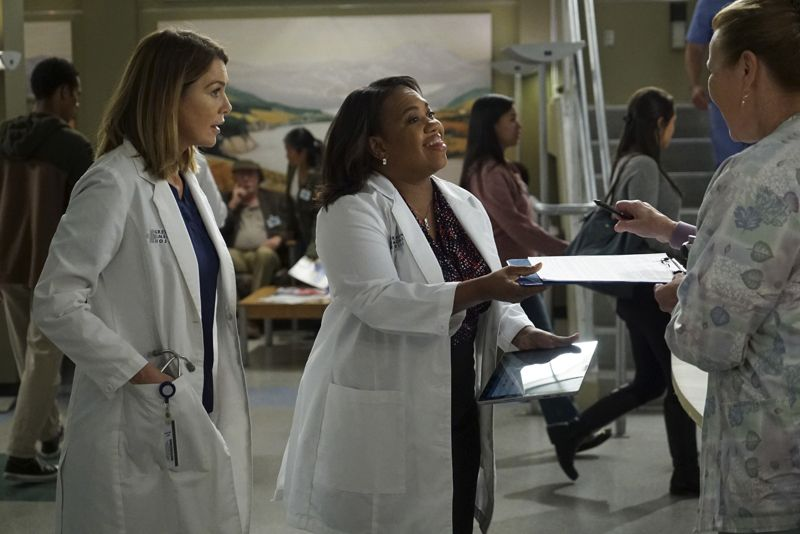 "GREY'S ANATOMY - ""Walking Tall"" -- The pressure is on as a determined Bailey tackles her first day as Chief; meanwhile, April's marriage is in jeopardy and she finds herself unable to address her problems; Meredith struggles to juggle all her responsibilities and Amelia works to define her relationship with Owen, on ""Grey's Anatomy,"" THURSDAY, OCTOBER 1 (8:00--9:00 p.m., ET) on the ABC Television Network. (Photo by Richard Cartwright/ABC via Getty Images) ELLEN POMPEO, CHANDRA WILSON"