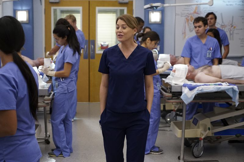 "GREY'S ANATOMY - ""Walking Tall"" -- The pressure is on as a determined Bailey tackles her first day as Chief; meanwhile, April's marriage is in jeopardy and she finds herself unable to address her problems; Meredith struggles to juggle all her responsibilities and Amelia works to define her relationship with Owen, on ""Grey's Anatomy,"" THURSDAY, OCTOBER 1 (8:00--9:00 p.m., ET) on the ABC Television Network. (Photo by Richard Cartwright/ABC via Getty Images) ELLEN POMPEO"
