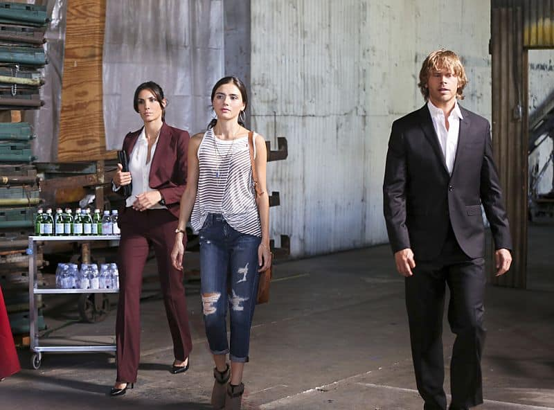 """Driving Miss Diaz"" -- Pictured: Daniela Ruah (Special Agent Kensi Blye), Arienne Mandi (Catalina Diaz) and Eric Christian Olsen (LAPD Liaison Marty Deeks). The NCIS Los Angeles team investigates a 20-year old Peruvian massacre after a well-known fashion model, believed to be one of the survivors, is now a potential target. Also, Kensi goes undercover as the model's assistant and Deeks as her chauffeur, on NCIS: LOS ANGELES, Monday, Oct. 5 (10:00-11:00 PM, ET/PT), on the CBS Television Network. Photo: Monty Brinton/CBS ©2015 CBS Broadcasting, Inc. All Rights Reserved."