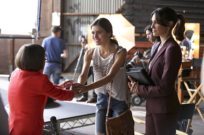 """Driving Miss Diaz"" -- Pictured: Linda Hunt (Henrietta ""Hetty"" Lange), Arienne Mandi (Catalina Diaz) and Daniela Ruah (Special Agent Kensi Blye). The NCIS Los Angeles team investigates a 20-year old Peruvian massacre after a well-known fashion model, believed to be one of the survivors, is now a potential target. Also, Kensi goes undercover as the model's assistant and Deeks as her chauffeur, on NCIS: LOS ANGELES, Monday, Oct. 5 (10:00-11:00 PM, ET/PT), on the CBS Television Network. Photo: Monty Brinton/CBS ©2015 CBS Broadcasting, Inc. All Rights Reserved."