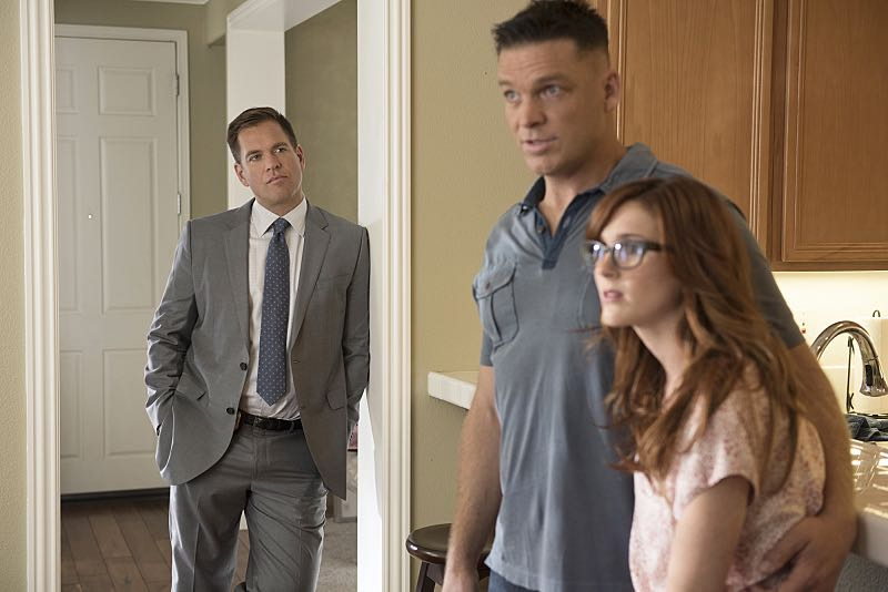 """""""Incognito"""" -- After a Marine is found murdered in Quantico hours after calling Gibbs to discuss a possible case, Bishop and McGee go undercover as a married couple to run surveillance on a Marine Lieutenant and his wife, on NCIS, Tuesday, Oct. 6 (8:00-9:00 PM, ET/PT), on the CBS Television Network. Pictured left to right: Michael Weatherly, Bart Johnson and Stephanie Koenig Photo: Colleen Hayes/CBS ©2015 CBS Broadcasting, Inc. All Rights Reserved"""
