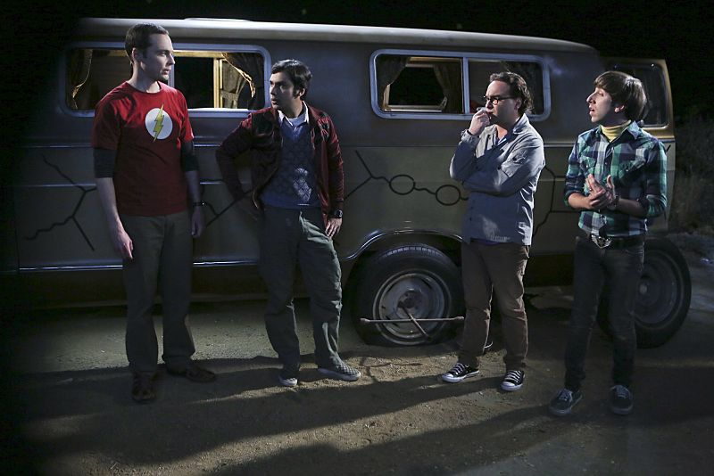"""""""The Bachelor Party Corrosion"""" -- The guys' science skills are put to the test when they get a flat tire during Leonard's bachelor party weekend in Mexico, on THE BIG BANG THEORY, Monday, Oct. 5 (8:00-8:31 PM, ET/PT), on the CBS Television Network. Pictured left to right: Jim Parsons, Kunal Nayyar, Johnny Galecki and Simon Helberg Photo: Monty Brinton/CBS ©2015 CBS Broadcasting, Inc. All Rights Reserved"""