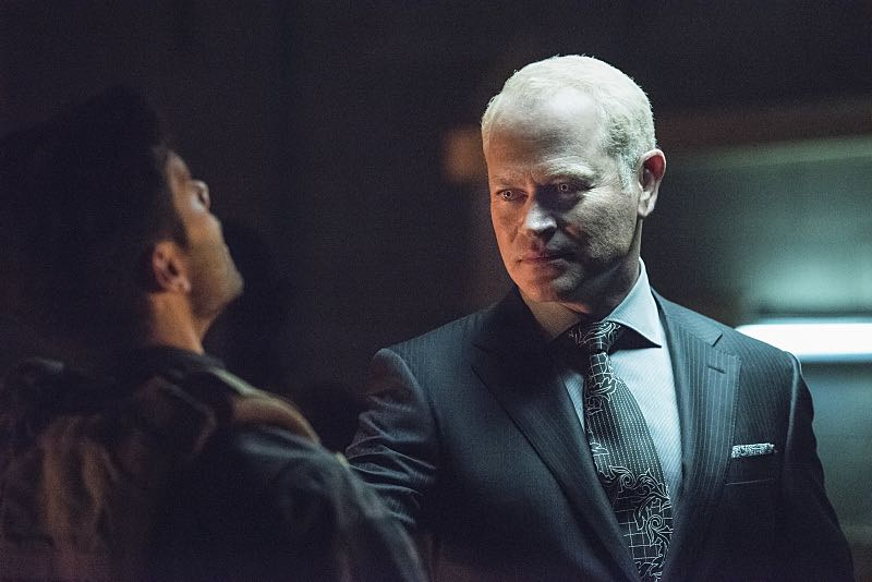 """Arrow -- """"Green Arrow"""" -- Image AR401B_0237b -- Pictured: Neal McDonough as Damien Darhk -- Photo: Dean Buscher /The CW -- © 2015 The CW Network, LLC. All Rights Reserved"""