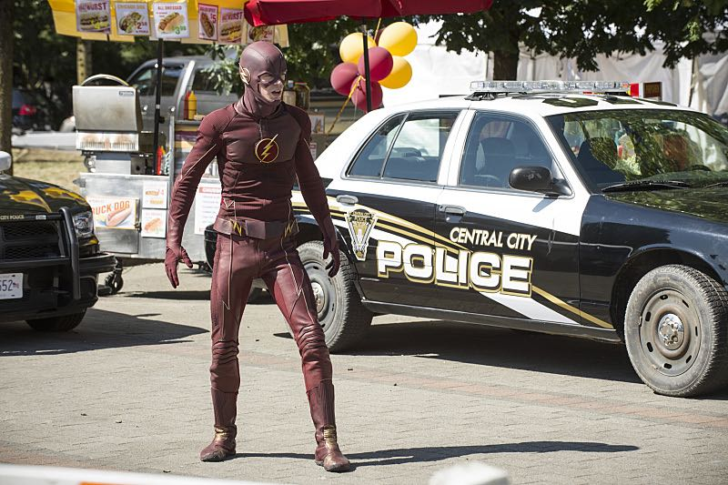 """The Flash -- """"The Man Who Saved Central City"""" -- Image FLA201a_0307b -- Pictured: Grant Gustin as The Flash -- Photo: Cate Cameron /The CW -- © 2015 The CW Network, LLC. All rights reserved"""