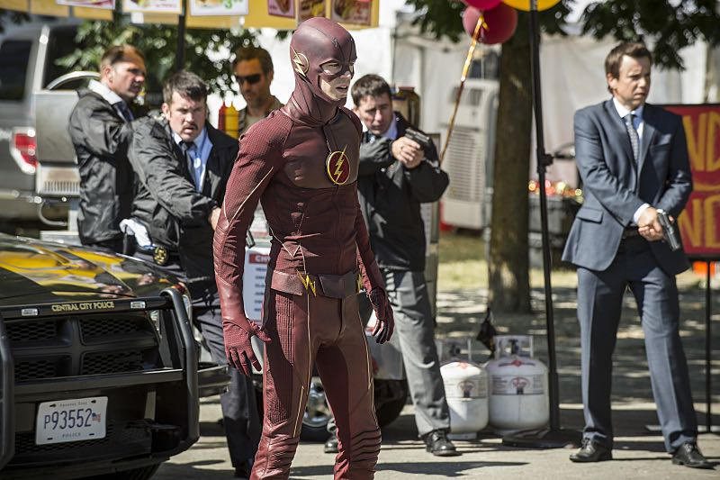 """The Flash -- """"The Man Who Saved Central City"""" -- Image FLA201a_0283b -- Pictured: Grant Gustin as The Flash -- Photo: Cate Cameron /The CW -- © 2015 The CW Network, LLC. All rights reserved"""