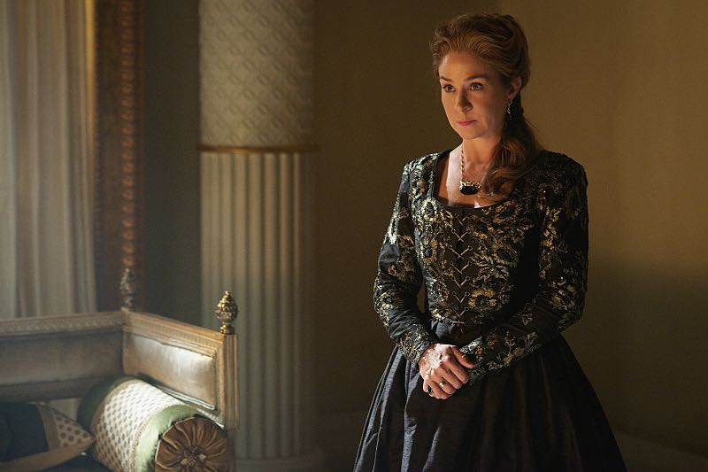 "Reign -- ""Three Queens, Two Tigers"" -- Image Number: RE301b_0155.jpg -- Pictured: Megan Follows as Catherine de Medici -- Photo: Sven Frenzel/The CW -- © 2015 The CW Network, LLC. All rights reserved."