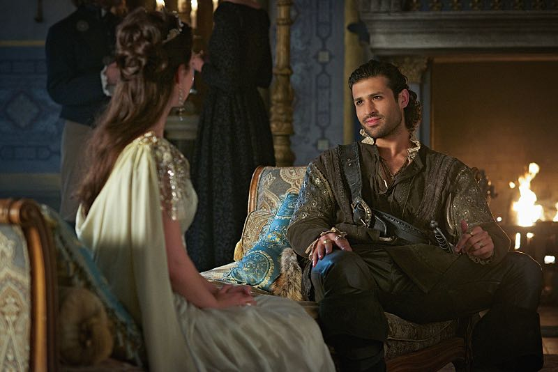 "Reign -- ""Three Queens, Two Tigers"" -- Image Number: RE301a_0163.jpg -- Pictured (L-R): Adelaide Kane as Mary, Queen of Scotland and France and Saamer Usmani as Martin de Lambert -- Photo: Sven Frenzel/The CW -- © 2015 The CW Network, LLC. All rights reserved."
