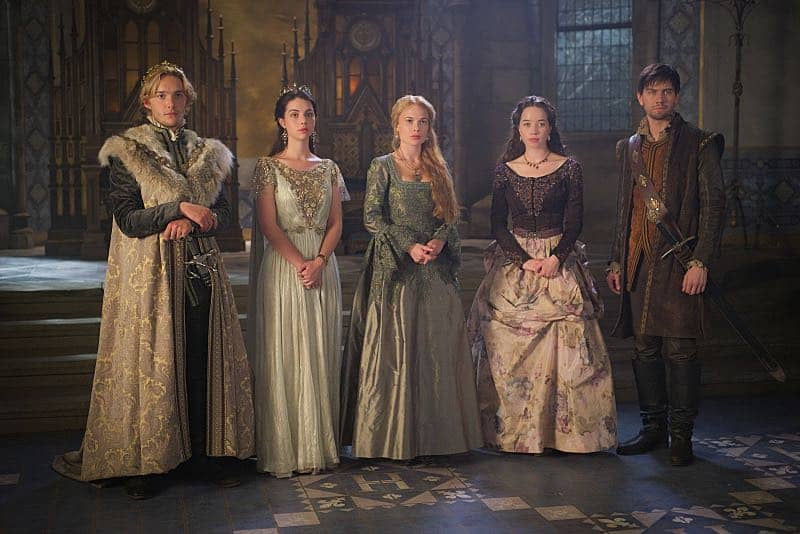 "Reign -- ""Three Queens, Two Tigers"" -- Image Number: RE301a_0086.jpg -- Pictured (L-R): Toby Regbo as King Francis II, Adelaide Kane as Mary, Queen of Scotland and France, Celina Sinden as Greer, Anna Popplewell as Lola and Torrance Coombs as Bash -- Photo: Sven Frenzel/The CW -- © 2015 The CW Network, LLC. All rights reserved."