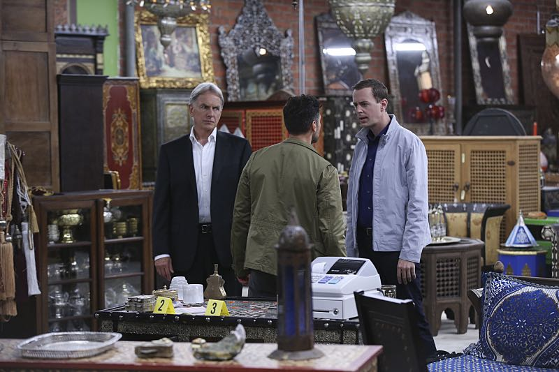 """Personal Day"" -- Gibbs (Mark Harmon, left) calls on the team to assist DEA Agent Luis Mitchell (John Gabriel, center) with a case that keeps going cold, but DiNozzo discovers there is more to Gibbs' personal connection to the agent and his desire to help him succeed. Also, the team gossips about Gibbs' new look after he replaces his standard military haircut and polo shirt for a modern cut and tailored dress shirt, on NCIS, Tuesday, Sept. 29 (8:00-9:00 PM, ET/PT), on the CBS Television Network. Also pictured: Sean Murray (right) Photo: Monty Brinton/CBS ©2015 CBS Broadcasting, Inc. All Rights Reserved"