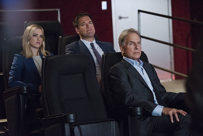 """Personal Day"" -- Gibbs (Mark Harmon, right) calls on the team to assist DEA Agent Luis Mitchell (John Gabriel) with a case that keeps going cold, but DiNozzo (Michael Weatherly, center) discovers there is more to Gibbs' personal connection to the agent and his desire to help him succeed. Also, the team gossips about Gibbs' new look after he replaces his standard military haircut and polo shirt for a modern cut and tailored dress shirt, on NCIS, Tuesday, Sept. 29 (8:00-9:00 PM, ET/PT), on the CBS Television Network. Also pictured: Emily Wickersham (left) Photo: Eddy Chen/CBS ©2015 CBS Broadcasting, Inc. All Rights Reserved"