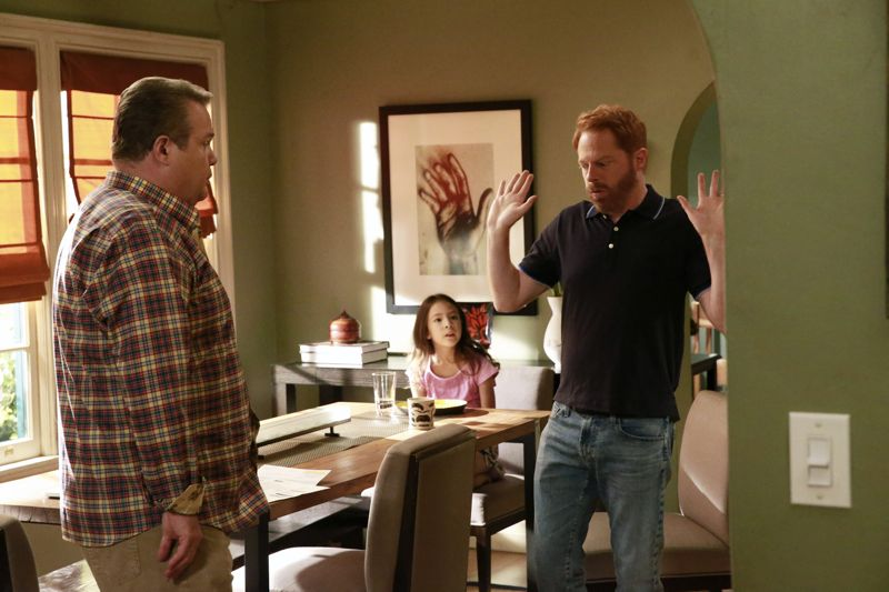 """MODERN FAMILY - """"Summer Lovin'"""" - Emmy award winning and critically acclaimed series """"Modern Family"""" returns for its seventh season with the premiere episode, """"Summer Lovin,"""" on WEDNESDAY, SEPTEMBER 23 (9:00-9:31 p.m., ET) on the ABC Television Network. Haley's attempt to stop Andy from proposing to Beth will end up with both Haley and Andy needing to cope with their emotions and both will have their own special ways of doing so, and Phil and Claire seem to only make matters worse. Jay and Gloria look at pre-schools for Joe and get a rude awakening after they realize the competitive wait list to get in. Meanwhile, Cam tries to remain supportive of Mitch's midlife career crisis, but money is getting a little tight, so Cam comes up with a scheme to get Mitch's old job back. (ABC/Mitchell Haaseth) ERIC STONESTREET, AUBREY ANDERSON-EMMONS, JESSE TYLER FERGUSON"""