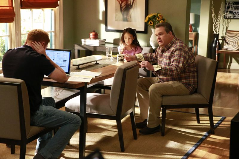 """MODERN FAMILY - """"Summer Lovin'"""" - Emmy award winning and critically acclaimed series """"Modern Family"""" returns for its seventh season with the premiere episode, """"Summer Lovin,"""" on WEDNESDAY, SEPTEMBER 23 (9:00-9:31 p.m., ET) on the ABC Television Network. Haley's attempt to stop Andy from proposing to Beth will end up with both Haley and Andy needing to cope with their emotions and both will have their own special ways of doing so, and Phil and Claire seem to only make matters worse. Jay and Gloria look at pre-schools for Joe and get a rude awakening after they realize the competitive wait list to get in. Meanwhile, Cam tries to remain supportive of Mitch's midlife career crisis, but money is getting a little tight, so Cam comes up with a scheme to get Mitch's old job back. (ABC/Mitchell Haaseth) JESSE TYLER FERGUSON, AUBREY ANDERSON-EMMONS, ERIC STONESTREET"""