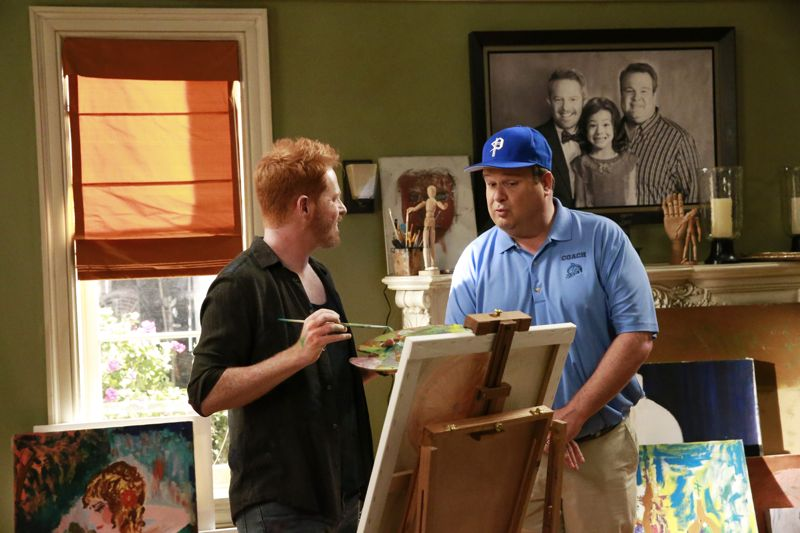 "MODERN FAMILY - ""Summer Lovin'"" - Emmy award winning and critically acclaimed series ""Modern Family"" returns for its seventh season with the premiere episode, ""Summer Lovin,"" on WEDNESDAY, SEPTEMBER 23 (9:00-9:31 p.m., ET) on the ABC Television Network. Haley's attempt to stop Andy from proposing to Beth will end up with both Haley and Andy needing to cope with their emotions and both will have their own special ways of doing so, and Phil and Claire seem to only make matters worse. Jay and Gloria look at pre-schools for Joe and get a rude awakening after they realize the competitive wait list to get in. Meanwhile, Cam tries to remain supportive of Mitch's midlife career crisis, but money is getting a little tight, so Cam comes up with a scheme to get Mitch's old job back. (ABC/Mitchell Haaseth) JESSE TYLER FERGUSON, ERIC STONESTREET"