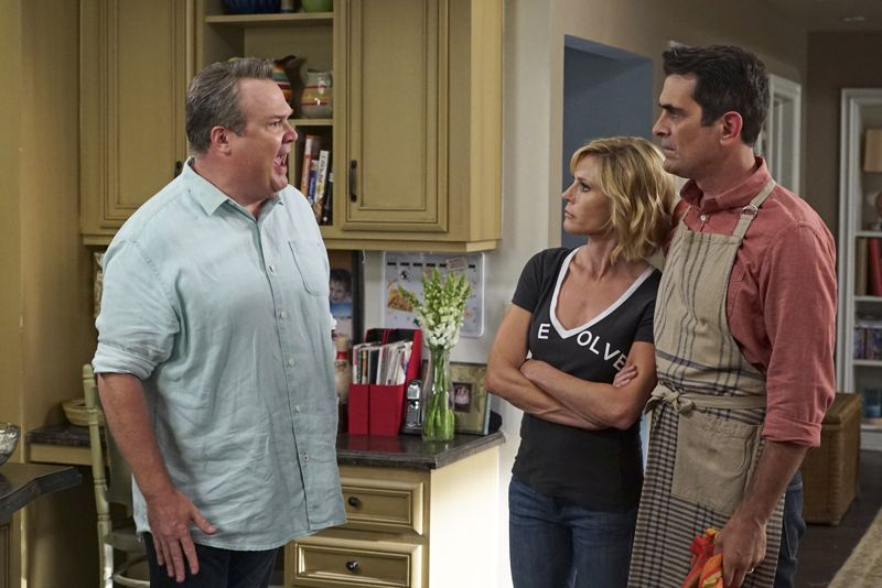 """MODERN FAMILY - """"Summer Lovin'"""" - Emmy award winning and critically acclaimed series """"Modern Family"""" returns for its seventh season with the premiere episode, """"Summer Lovin,"""" on WEDNESDAY, SEPTEMBER 23 (9:00-9:31 p.m., ET) on the ABC Television Network. Haley's attempt to stop Andy from proposing to Beth will end up with both Haley and Andy needing to cope with their emotions and both will have their own special ways of doing so, and Phil and Claire seem to only make matters worse. Jay and Gloria look at pre-schools for Joe and get a rude awakening after they realize the competitive wait list to get in. Meanwhile, Cam tries to remain supportive of Mitch's midlife career crisis, but money is getting a little tight, so Cam comes up with a scheme to get Mitch's old job back. (ABC/Eric McCandless) ERIC STONESTREET, JULIE BOWEN, TY BURRELL"""