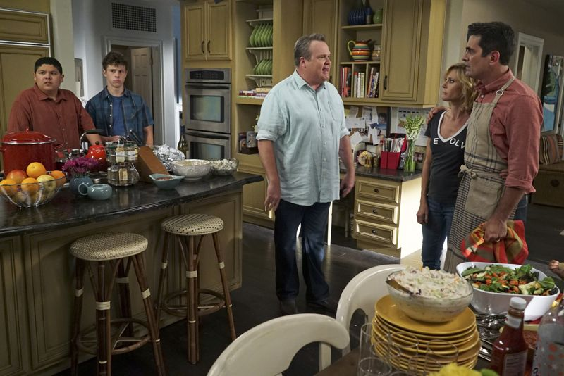 """MODERN FAMILY - """"Summer Lovin'"""" - Emmy award winning and critically acclaimed series """"Modern Family"""" returns for its seventh season with the premiere episode, """"Summer Lovin,"""" on WEDNESDAY, SEPTEMBER 23 (9:00-9:31 p.m., ET) on the ABC Television Network. Haley's attempt to stop Andy from proposing to Beth will end up with both Haley and Andy needing to cope with their emotions and both will have their own special ways of doing so, and Phil and Claire seem to only make matters worse. Jay and Gloria look at pre-schools for Joe and get a rude awakening after they realize the competitive wait list to get in. Meanwhile, Cam tries to remain supportive of Mitch's midlife career crisis, but money is getting a little tight, so Cam comes up with a scheme to get Mitch's old job back. (ABC/Eric McCandless) RICO RODRIGUEZ, NOLAN GOULD, ERIC STONESTREET, JULIE BOWEN, TY BURRELL"""