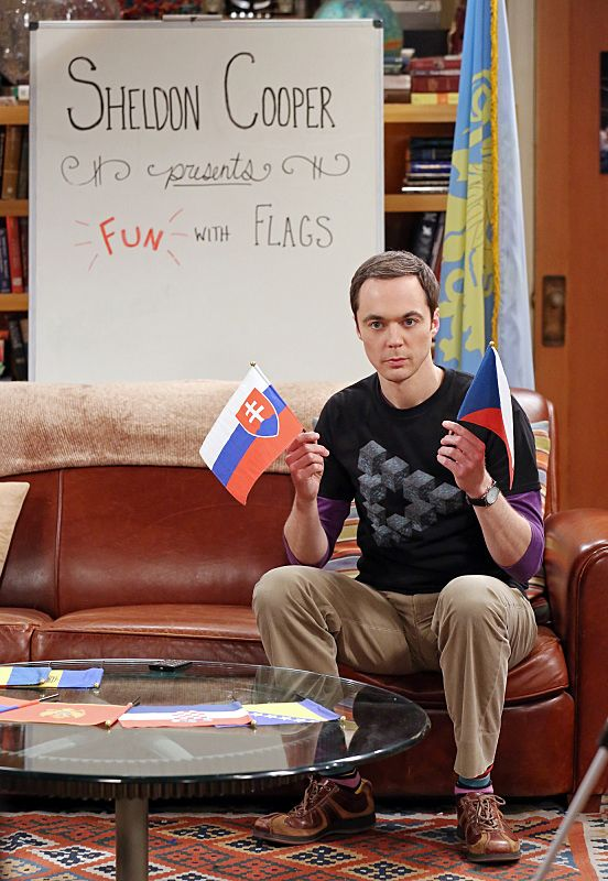 """""""The Separation Oscillation"""" -- Sheldon (Jim Parsons) films a special episode of """"Fun with Flags"""" after his breakup with Amy, on THE BIG BANG THEORY, Monday, Sept. 28 (8:00-8:31 PM, ET/PT), on the CBS Television Network.  Photo: Michael Yarish/Warner Bros. Entertainment Inc. © 2015 WBEI. All rights reserved."""