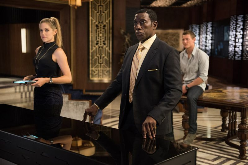 "THE PLAYER -- ""A House Is Not A Home"" Episode 106 -- Pictured: (l-r) Charity Wakefield as Cassandra, Wesley Snipes as Mr. Johnson, Philip Winchester as Alex -- (Photo by: Colleen Hayes/NBC)"