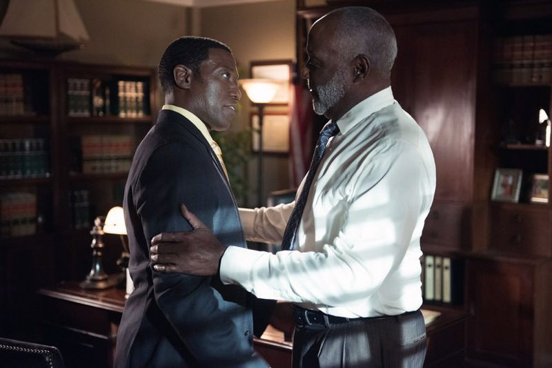 "THE PLAYER -- ""A House Is Not A Home"" Episode 106 -- Pictured: (l-r) Wesley Snipes as Mr. Johnson, Richard Roundtree as Letts -- (Photo by: Colleen Hayes/NBC)"