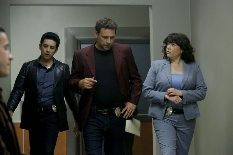 """WICKED CITY - """"Running with the Devil"""" - Jack and Paco get a lead on the serial killer's next possible victim and race against the clock to try and track her down before the killer gets to her; Kent struggles over whether or not to invite Betty to take part in his murderous rampage when it becomes clear that she doesn't trust him and may leave him, and Jack and Paco continue to search for Karen, who has disappeared from the club, on """"Wicked City,"""" TUESDAY, NOVEMBER 3 (10:00-11:00 p.m., ET) on the ABC Television Network. (ABC/Vivian Zink) GABRIEL LUNA, JEREMY SISTO, SARA MORNELL"""