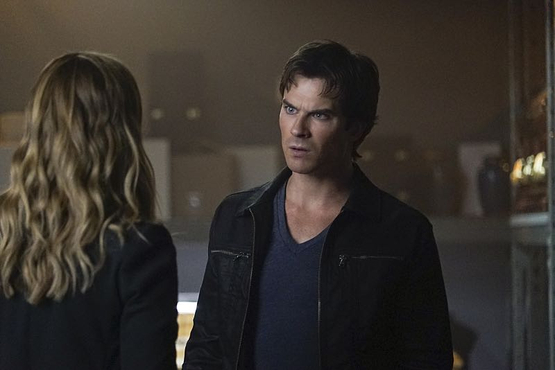 """The Vampire Diaries -- """"Live Through This"""" -- Image Number: VD705c_0106.jpg -- Pictured (L-R): Elizabeth Blackmore as Valerie and Ian Somerhalder as Damon -- Photo: Annette Brown/The CW -- © 2015 The CW Network, LLC. All rights reserved."""