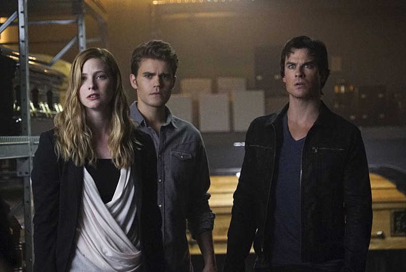 "The Vampire Diaries -- ""Live Through This"" -- Image Number: VD705c_0103.jpg -- Pictured (L-R): Elizabeth Blackmore as Valerie, Paul Wesley as Stefan and Ian Somerhalder as Damon -- Photo: Annette Brown/The CW -- © 2015 The CW Network, LLC. All rights reserved."