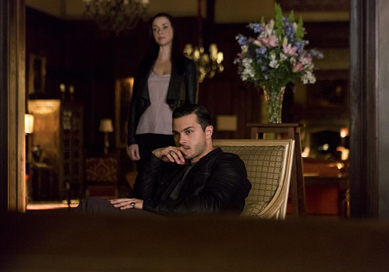 "The Vampire Diaries -- ""Live Through This"" -- Image Number: VD705a_0126.jpg -- Pictured (L-R): Annie Wersching as Lily and Michael Malarkey as Enzo -- Photo: Eli Joshua Adé/The CW -- © 2015 The CW Network, LLC. All rights reserved."