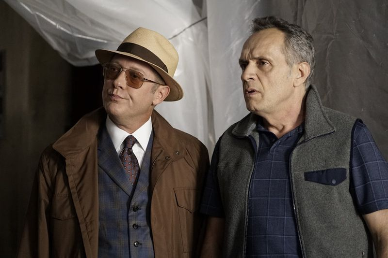"THE BLACKLIST -- ""Sir Crispin Crandall"" Episode 306 -- Pictured: (l-r) James Spader as Red Reddington, Simon Jutras as Inspector -- (Photo by: Peter Kramer/NBC)"
