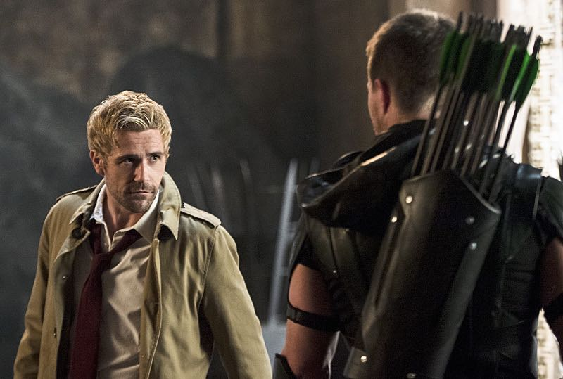 "Arrow -- ""Haunted"" -- Image AR404B_0312b.jpg -- Pictured (L-R): Matt Ryan as Constantine and Stephen Amell as The Arrow -- Photo: Cate Cameron/ The CW -- © 2015 The CW Network, LLC. All Rights Reserved."