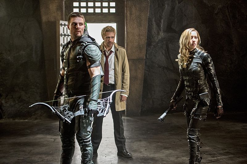 "Arrow -- ""Haunted"" -- Image AR404B_0241b.jpg -- Pictured (L-R): Stephen Amell as The Arrow, Matt Ryan as Constantine and Katie Cassidy as Black Canary -- Photo: Cate Cameron/ The CW -- © 2015 The CW Network, LLC. All Rights Reserved."