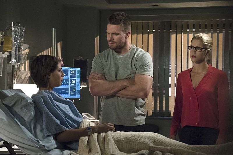"Arrow -- ""Haunted"" -- Image AR404A_0029b -- Pictured (L-R): Willa Holland as Thea Queen, Stephen Amell as Oliver Queen and Emily Bett Rickards as Felicity Smoak -- Photo: Katie Yu/ The CW -- © 2015 The CW Network, LLC. All Rights Reserved."
