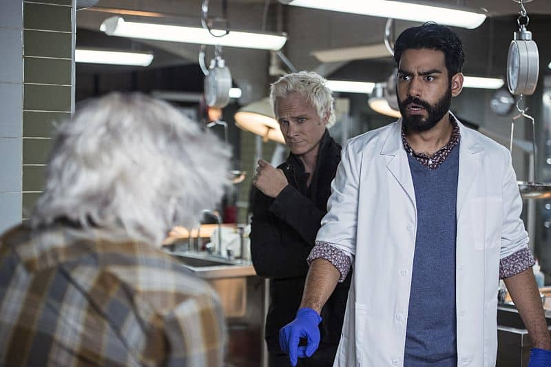 "iZombie -- ""Love & Basketball"" -- Image Number: ZMB205a_0105.jpg -- Pictured (L-R): David Anders as Blaine and Rahul Kohli as Ravi -- Photo: Cate Cameron/The CW -- © 2015 The CW Network, LLC. All rights reserved"