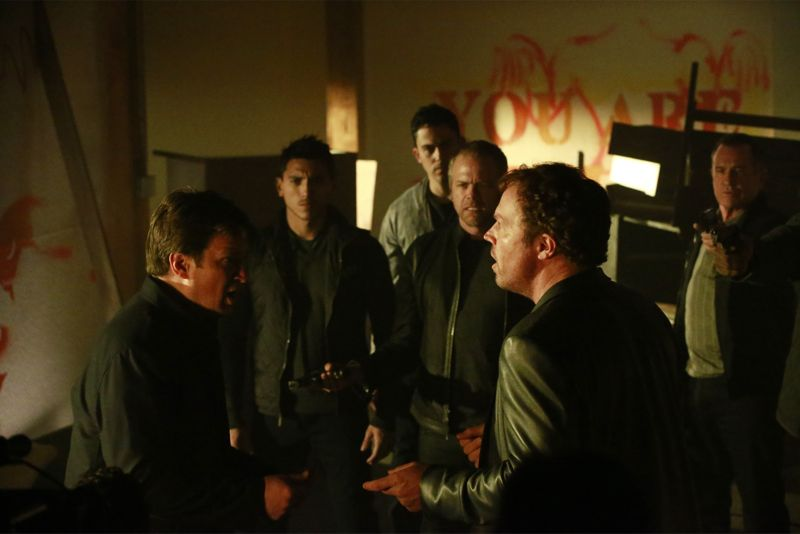 """CASTLE - """"Cool Boys"""" - Detective Slaughter (guest star Adam Baldwin) returns to enlist Castle's help in solving a high-stakes robbery case. But when a body is found linked to the crime, Slaughter becomes the number one suspect in the heist turned murder, while Castle has to determine whether he's guilty or help to prove he's innocent. """"Cool Boys"""" will air on MONDAY, NOVEMBER 9 (10:01-11:00 p.m. ET/PT) on the ABC Television Network. (ABC/Mitch Haaseth) NATHAN FILLION, WADE ALLAIN-MARCUS, MORGAN BENOIT, BRIAN GASKILL, ADAM BALDWIN"""