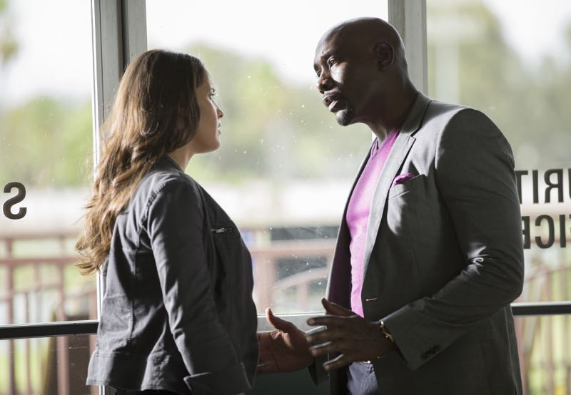 "ROSEWOOD: L-R: Jaina Lee Ortiz and Morris Chestnut in the ""Policies and Ponies"" episode of ROSEWOOD airing Wednesday, Nov. 4 (8:00-9:00 PM ET/PT) on FOX. ©2015 Fox Broadcasting Co. Cr: John P. Fleenor/FOX."
