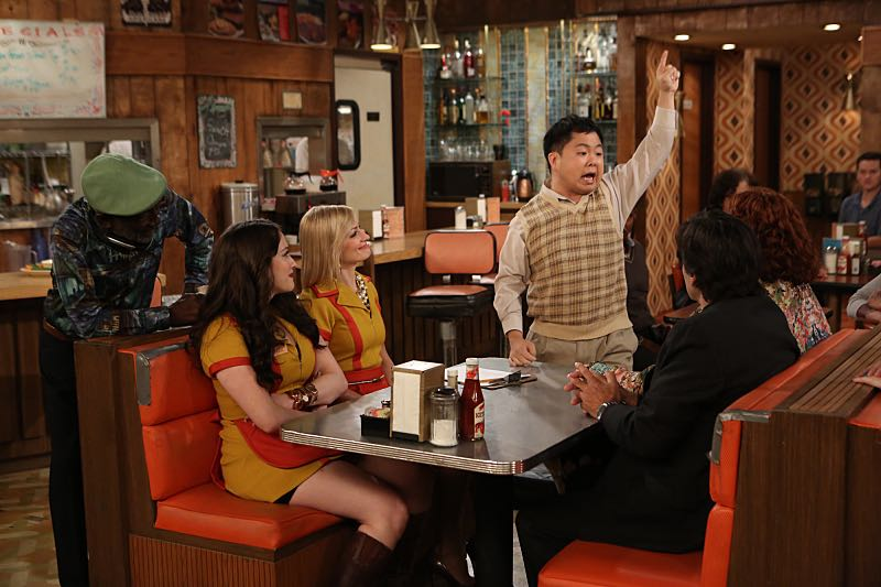 """And the Wrecking Ball"" -- Max and Caroline team up with the diner staff in a frantic attempt to keep their businesses open when the city targets Han's diner and their cupcake window for destruction. Also, Sophie and Oleg announce that they are trying to have a baby, on the fifth season premiere of 2 BROKE GIRLS, Thursday, November 12 (9:30-10:00 PM, ET/PT) on the CBS Television Network. From left, Earl (Garrett Morris), Max Black (Kat Dennings), Caroline Channing (Beth Behrs) and Han Lee (Matthew Moy), shown. Photo: Monty Brinton/CBS ©2015 CBS Broadcasting, Inc. All Rights Reserved"