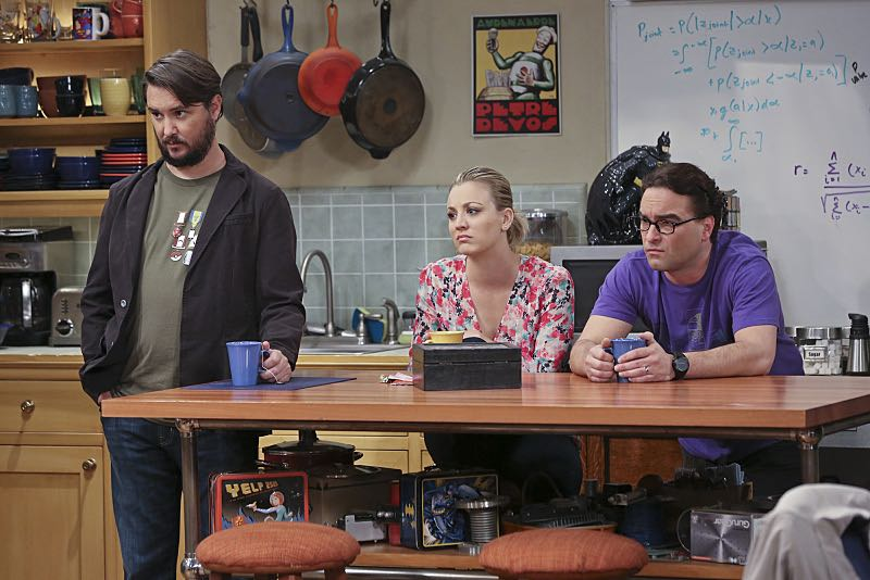 """The Spock Resonance"" -- Leonard (Johnny Galecki, right) and Penny (Kaley Cuoco, center) are shocked to learn that Sheldon had an engagement ring for Amy, on THE BIG BANG THEORY, Thursday, Nov. 5 (8:00-8:31 PM, ET/PT), on the CBS Television Network. Also pictured: Wil Wheaton (left) Photo: Michael Yarish/Warner Bros. Entertainment Inc. © 2015 WBEI. All rights reserved."