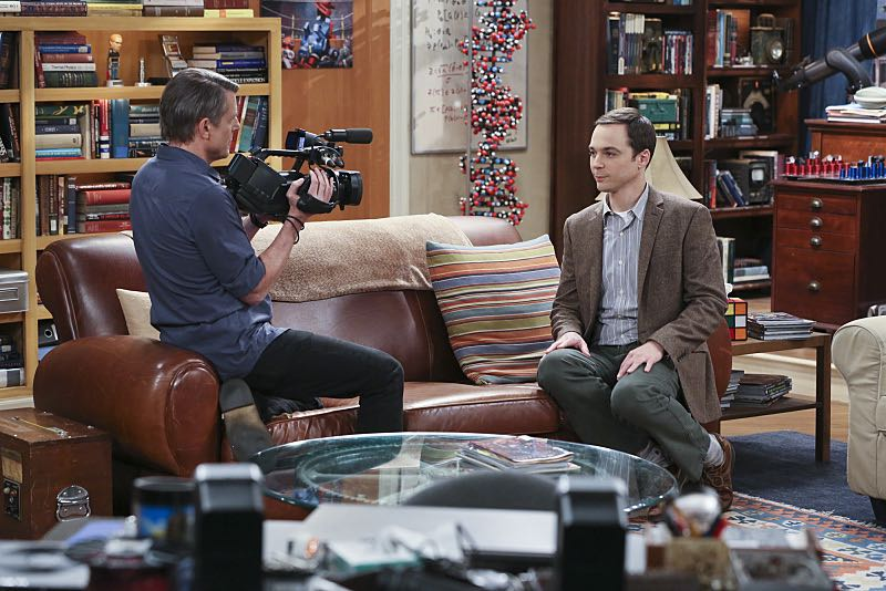 """The Spock Resonance"" -- While being interviewed for a documentary about Spock from ""Star Trek,"" Sheldon (Jim Parsons, right) struggles to suppress his emotions about his recent break-up with Amy, on THE BIG BANG THEORY, Thursday, Nov. 5 (8:00-8:31 PM, ET/PT), on the CBS Television Network. Also pictured: Adam Nimoy (left) Photo: Michael Yarish/Warner Bros. Entertainment Inc. © 2015 WBEI. All rights reserved."