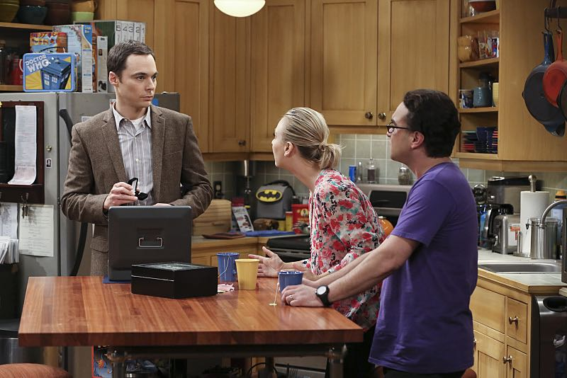 """The Spock Resonance"" -- Leonard (Johnny Galecki, right) and Penny (Kaley Cuoco, center) are shocked to learn that Sheldon (Jim Parsons, left) had an engagement ring for Amy, on THE BIG BANG THEORY, Thursday, Nov. 5 (8:00-8:31 PM, ET/PT), on the CBS Television Network. Photo: Michael Yarish/Warner Bros. Entertainment Inc. © 2015 WBEI. All rights reserved."