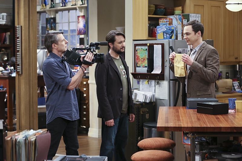 """The Spock Resonance"" -- While being interviewed for a documentary about Spock from ""Star Trek,"" Sheldon (Jim Parsons, right) struggles to suppress his emotions about his recent break-up with Amy, on THE BIG BANG THEORY, Thursday, Nov. 5 (8:00-8:31 PM, ET/PT), on the CBS Television Network. Also pictured left to right: Adam Nimoy and Wil Wheaton Photo: Michael Yarish/Warner Bros. Entertainment Inc. © 2015 WBEI. All rights reserved."
