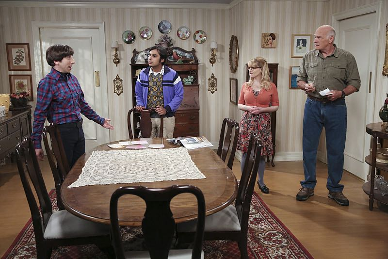 """The Spock Resonance"" -- Wolowitz and Bernadette butt heads over remodeling his childhood home, on THE BIG BANG THEORY, Thursday, Nov. 5 (8:00-8:31 PM, ET/PT), on the CBS Television Network. Pictured left to right: Simon Helberg, Kunal Nayyar, Melissa Rauch and Casey Sander Photo: Michael Yarish/Warner Bros. Entertainment Inc. © 2015 WBEI. All rights reserved."