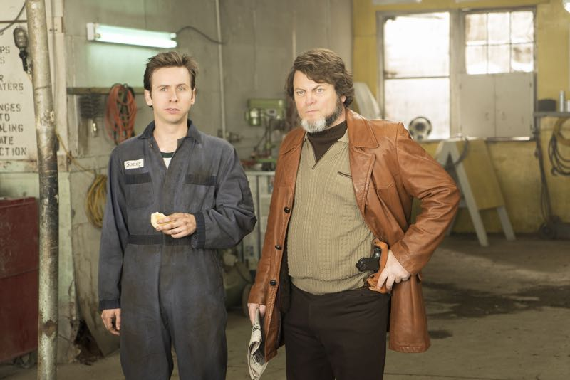 "FARGO -- ""Fear and Trembling"" -- Episode 204 (Airs November 2, 10:00 pm e/p) Pictured: (l-r) Daniel Beirne as Sonny Greer, Nick Offerman as Karl Weathers. CR: Chris Large/FX"