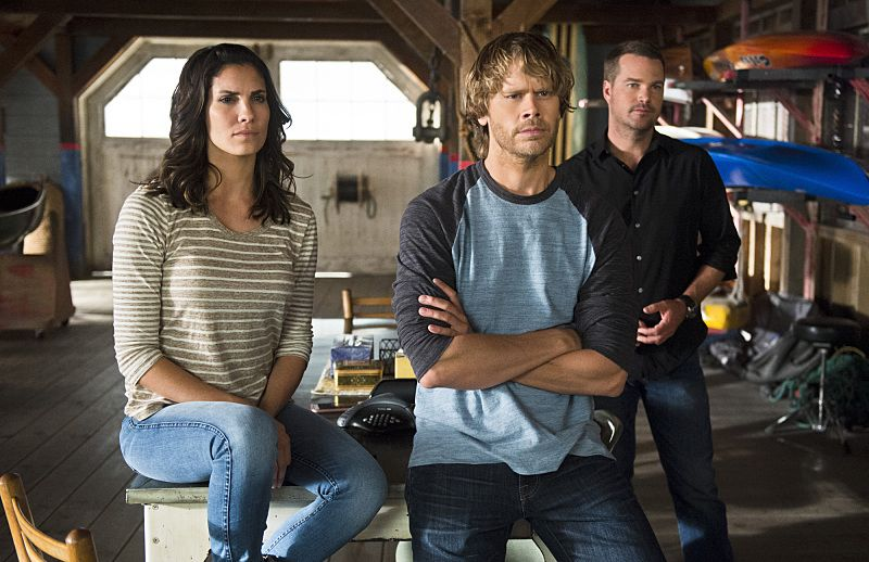"""Unspoken"" -- Pictured: Daniela Ruah (Special Agent Kensi Blye), Eric Christian Olsen (LAPD Liaison Marty Deeks) and Chris O'Donnell (Special Agent G. Callen). The team searches for Sam's former partner, Ruiz (Anthony Ruivivar), who disappears while buying a deadly explosive during an undercover operation, on NCIS: LOS ANGELES, Monday, Nov. 2 (10:00-11:00, ET/PT), on the CBS Television Network. Photo: Neil Jacobs/CBS ©2015 CBS Broadcasting, Inc. All Rights Reserved."