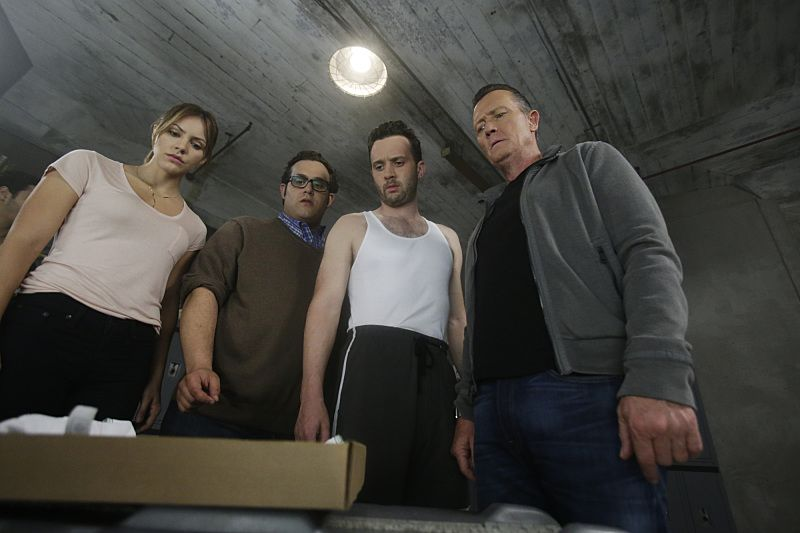 """Crazy Train"" -- Team Scorpion must stop a sabotaged runaway subway train with Paige and Ralph on board. Also, in his attempt to impress Happy, Toby has his first boxing match, on SCORPION, Monday, Nov. 2 (9:00-9:59 PM, ET/PT) on the CBS Television Network. Pictured: Katharine McPhee as Paige Dineen, Ari Stidham as Sylvester Dodd, Eddie Kaye Thomas as Toby Curtis, Robert Patrick as Agent Cabe Gallo. Photo: Sonja Flemming/CBS ©2015 CBS Broadcasting, Inc. All Rights Reserved"