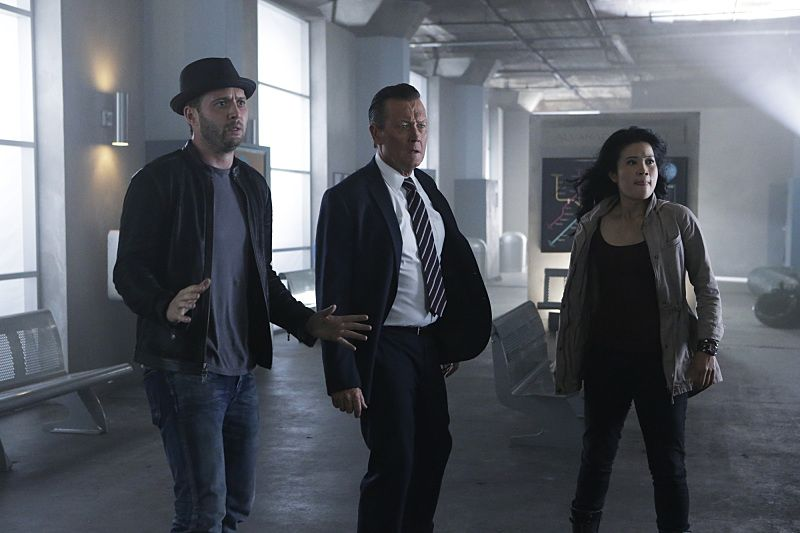 """Crazy Train"" -- Team Scorpion must stop a sabotaged runaway subway train with Paige and Ralph on board. Also, in his attempt to impress Happy, Toby has his first boxing match, on SCORPION, Monday, Nov. 2 (9:00-9:59 PM, ET/PT) on the CBS Television Network. Pictured: Eddie Kaye Thomas as Toby Curtis, Robert Patrick as Agent Cabe Gallo, Jadyn Wong as Happy Quinn. Photo: Sonja Flemming/CBS ©2015 CBS Broadcasting, Inc. All Rights Reserved"