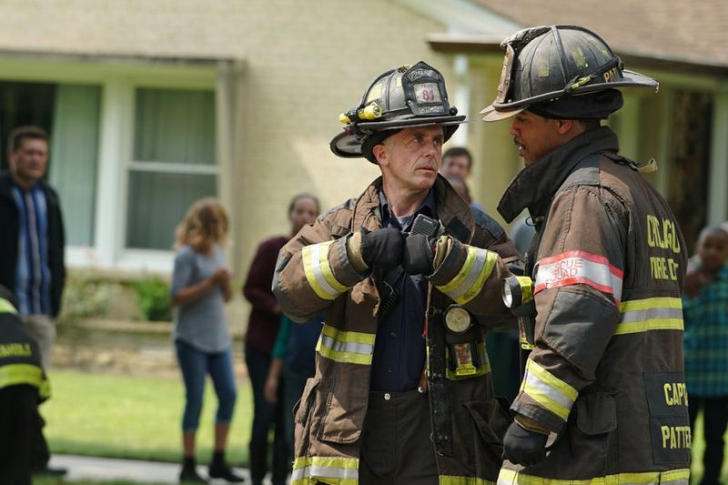 "CHICAGO FIRE -- ""Your Time Is Coming"" Episode 404 -- Pictured: (l-r) David Eigenberg as Christopher Herrmann, Brian White as Dallas Patterson -- (Photo by: Elizabeth Morris/NBC)"