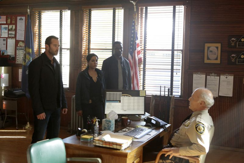 "BLINDSPOT -- ""Sent on Tour"" Episode 107 -- Pictured: (l-r) Sullivan Stapleton as Kurt Weller, Audrey Esparza as Tasha Zapata, Rob Brown as Edgar Reed, Dan Butler as Sheriff Paul Bolton -- (Photo by: Giovanni Rufino/NBC)"